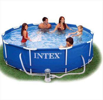 Intex Metal Frame zwembad 305 x 76 cm-Met 12-Volt filterpomp
