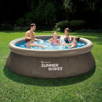 Summer Waves Zwembad Quick Set 305 X 76 CM Dark Double Rattan met Filterpomp