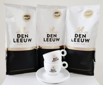 actie den leeuw koffiebonen blond 3 kg met gratis kop en schotel