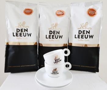 actie den leeuw filterkoffie fresh brew 3 kg met gratis kop en schotel