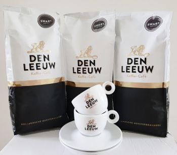 actie den leeuw koffiebonen swart 3 kg met gratis kop en schotel