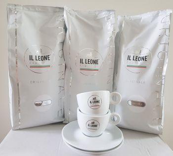 actie il leone espressobonen nero forte met gratis kop en schotel