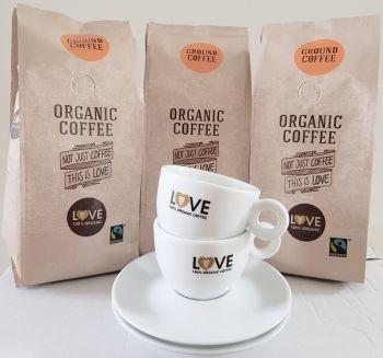 actie love fairtrade filter koffie 1,5 kg met gratis kop en schotel